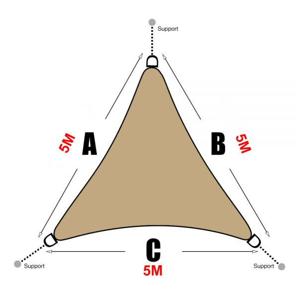 Voile d'ombrage triangle 5x5x5 beige