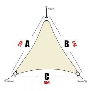 Voile d'ombrage triangle 5x5x5 blanc