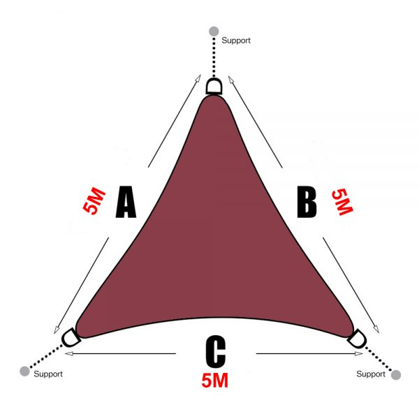 Voile d'ombrage triangle 5x5x5 rouge