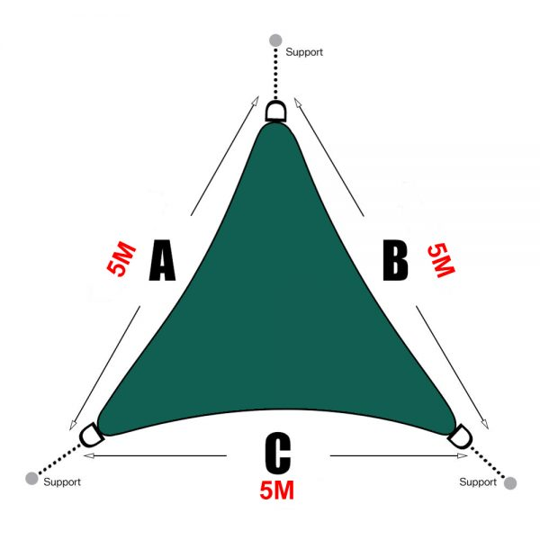Voile d'ombrage triangle 5x5x5 vert